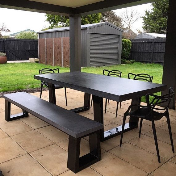 Polished Concrete 8 To 10 Seater 2 1m Dining Table With Bench