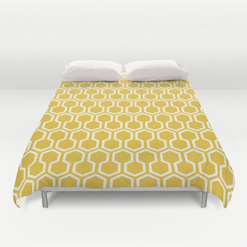 Honeycomb Duvet Cover - Mustard Yellow - Queen Size Duvet Cover - King Size Duvet Cover by AldariHome on Etsy https://www.etsy.com/ca/listing/206134451/honeycomb-duvet-cover-mustard-yellow