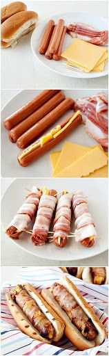 Texas Tommy Hot Dogs, three things i love: bacon, cheese, and hot dogs