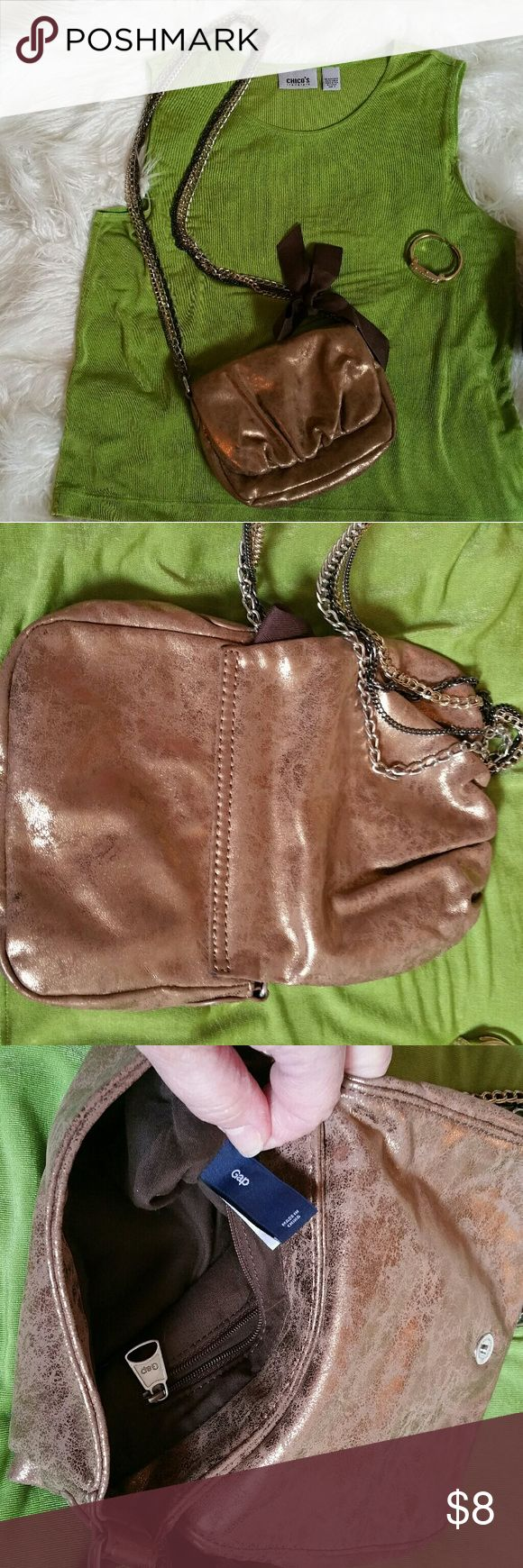 """Gap Crossbody Purse Classy Chic little Crossbody Gap purse. Great condition! 4 Chains and brown ribbion bow. BODY 7""""  8 1/2"""" GAP Bags Crossbody Bags"""