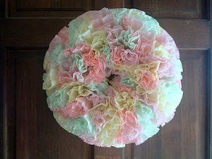 #FaveCrafts - Colorful Coffee Filter Wreath - This is cute, easy and could be any colors you can make.