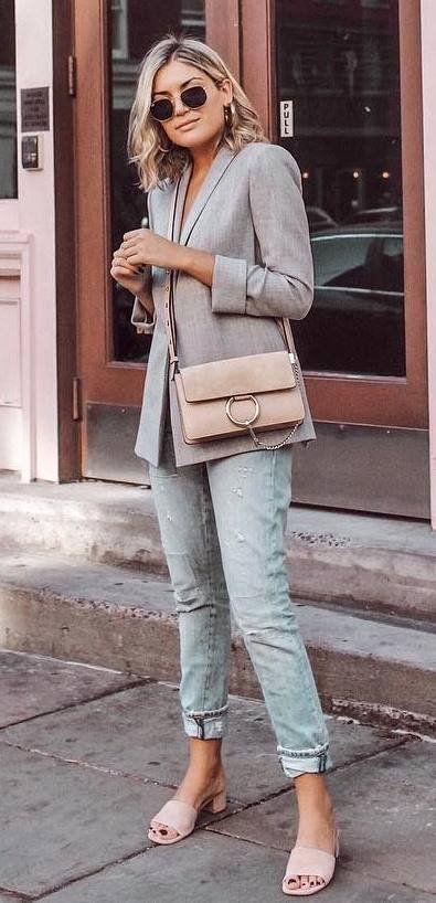casual style inspiration grey blazer   bag   boyfriend jeans   heels