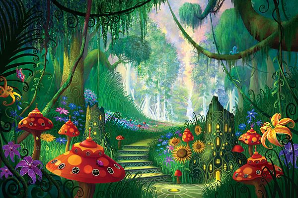 Hidden treasures fantasy forest wallpaper wall mural for Fairy tale mural