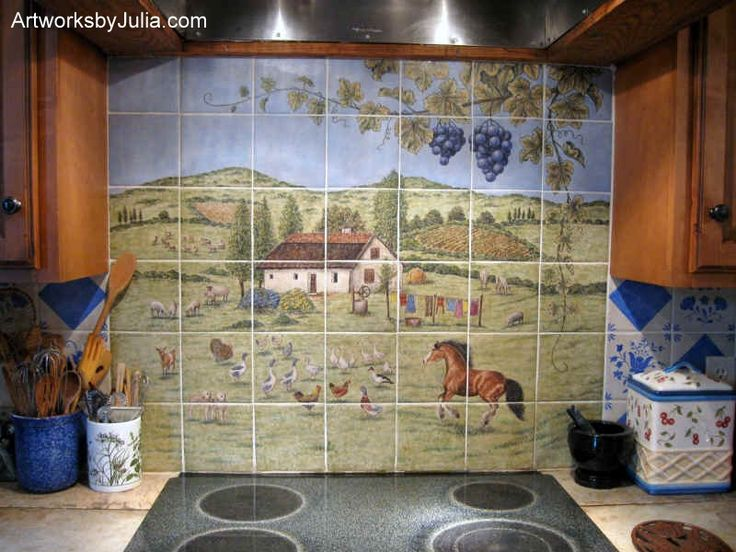 Home Design And Interior Design Gallery Of Beautiful European Style Country Kitchen  Wall Tile Murals Backsplash Part 59