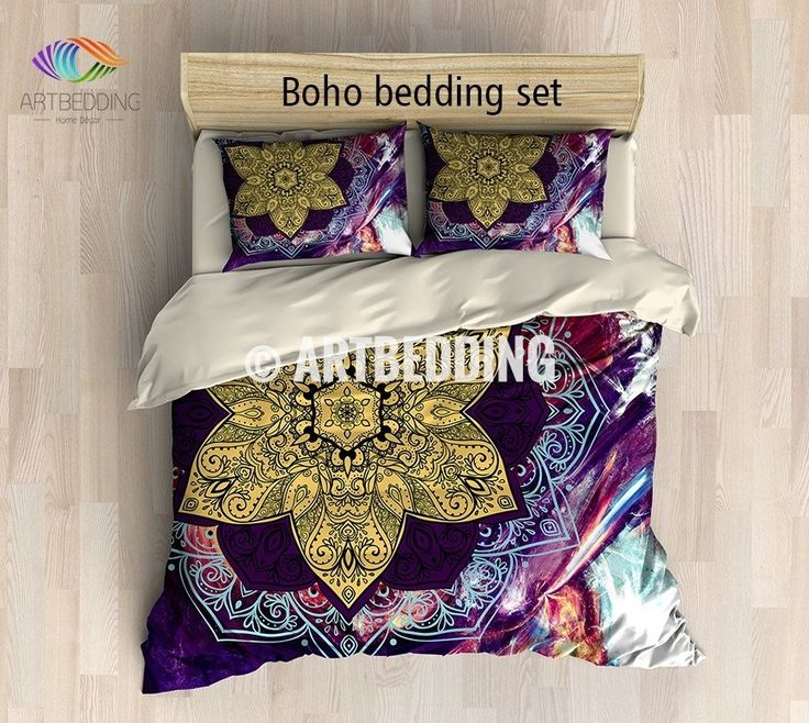 This bedding set is nothing less than extraodinary. What catches your eye is this beautiful multilayer Lotus flower mandala in clasic purple and bright yellow. This design is the perfect combination between traditional mandala art design and modern digitally generated galaxy background that is so beautiful by itself. This design is a real compliment to your interior. 3-piece DUVET COVER SETIncludes: 1 duvet cover / NO duvet insert/ and a set of 2 pillow coversOur Reversible down D...