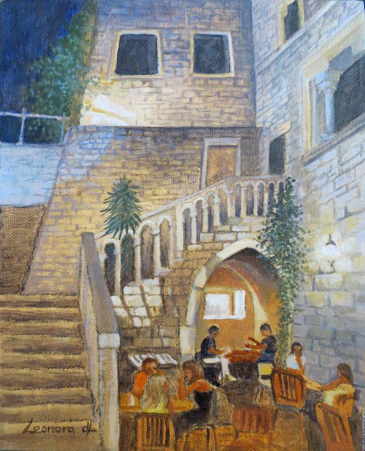 "Leonora de Lange - "" Supper in Split-Croatia - Acrylics on canvas 53.5 x 35cm"