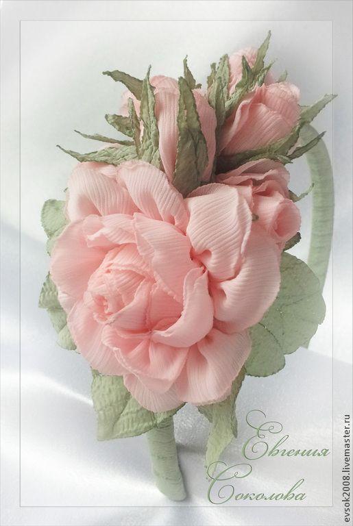 Купить Ободок. Розовые розы. - бледно-розовый, розы, розовые розы, цветы ручной работы
