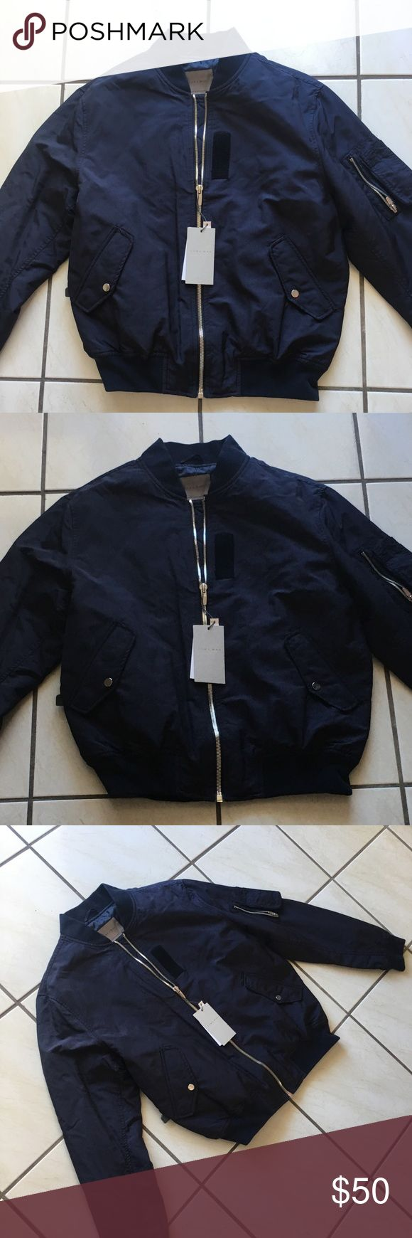 Zara Men's blue Bomber Jacket Brand New with tags mens Zara bomber jacket. The blue jacket is perfect for those chilly or cold days and night out. It has 2 front pockets with button closure and one sleeve zip pocket. The bottom sleeves and waist band are blue and elastic. The zippers are silver color. Don't miss out on this baby. Zara Jackets & Coats Bomber & Varsity
