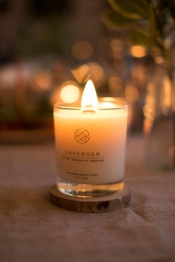 Lavender Candle Hand Poured Soy Candles Wood Wick Candles