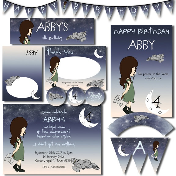 Firefly Serenity Inspired River Tam Party Pack JPEG - Geek-a-bye Baby Printables - Invitation, Cupcake Wrapper, Topper, Food Sign, PosterFireflies Parties, Pack Jpeg, Geek A By Baby, Tam Parties, Baby Printables, Rivers Tam, Rivers Parties, Cupcakes Wrappers, Parties Pack