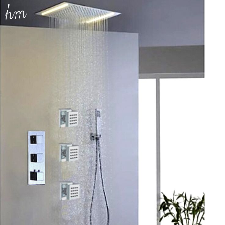 Led Shower Head With Thermostatic Shower Mixer Shower Jets. Bathroom Accessoreis 360*500 Electric Shower Rainfall Led Showerhead