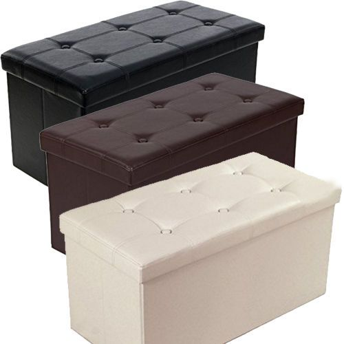 Toy Storage Chest Stool Faux Leather Ottoman Coffee Table Kids Playroom Box New