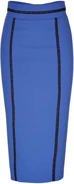 L'Wren Scott High Waisted Pencil Skirt with Lace Trim - Lyst