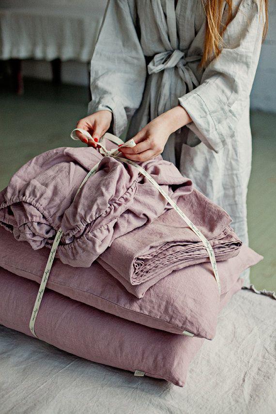 Wood rose linen sheet set. 4 pieces linen bed sheet set. Flat sheet, fitted…