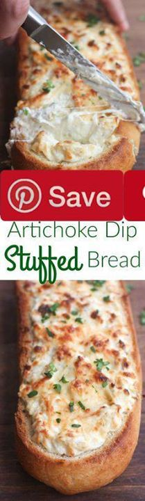Artichoke Dip Stuffed Bread Ingredients Vegetarian Produce 1 Dill weed 1 clove Garlic 1 8 oz can Non-marinated artichoke hearts Condiments  cup Mayonnaise Bread & Baked Goods 2 Baguettes crusty bread Dairy 8 oz Cream cheese 1 cup Parmesan cheese grated  cup Sour cream