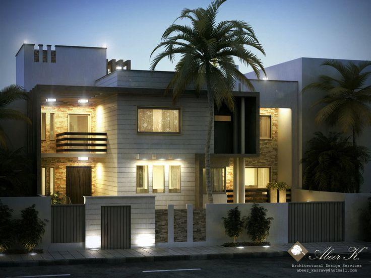 Exterior: Libya Contemp Villa B Night Render By Kasrawy On