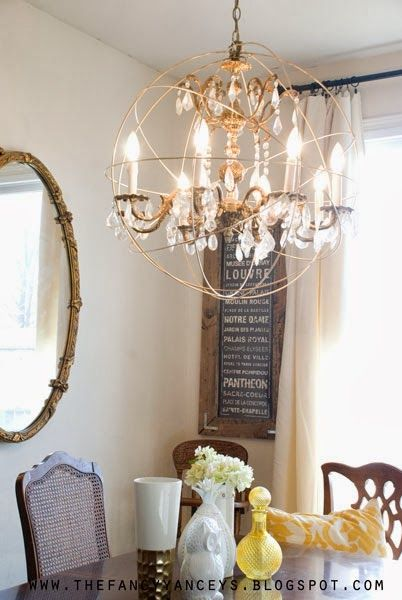 VINTAGE ROMANCE STYLE: DIY Restoration Hardware Crystal Orb Chandelier Knockoff Tutorial