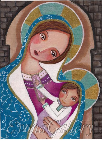 Madonna and Child, Catholik Art  Print Blessed Virgin Marry, Our Lady Of Original Art ,Mix Media, Folk Art, Wall Decore by Evona by Evonagallery on Etsy https://www.etsy.com/listing/190734928/madonna-and-child-catholik-art-print