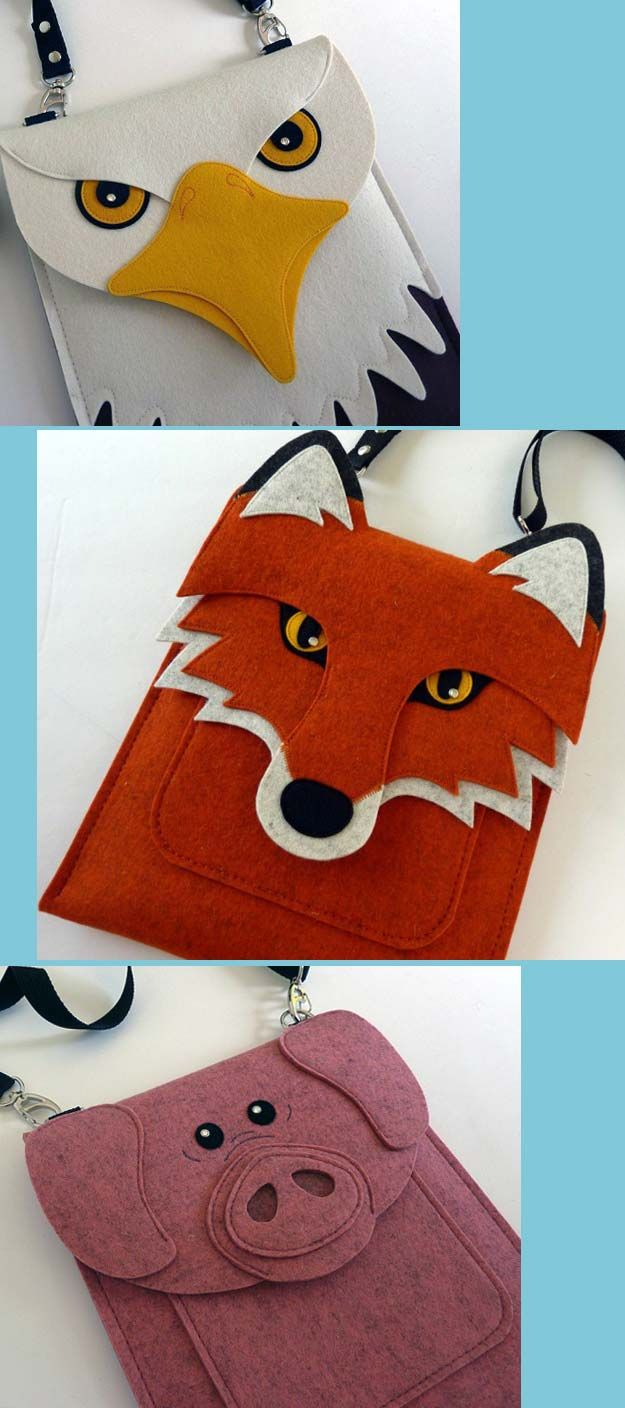 Wool Felt animal bags with front pocket