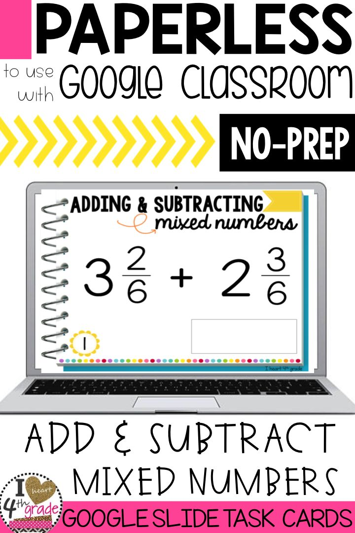 Mixed Numbers | adding and subtracting mixed numbers | 4th grade fractions | 4th grade fraction centers | This set of digital task cards is a great way to practice adding and subtracting mixed numbers. #fractions ($)