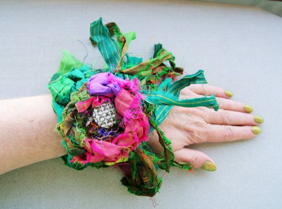 sale-recycled silk bohemian flower cuff by handmadestreet101