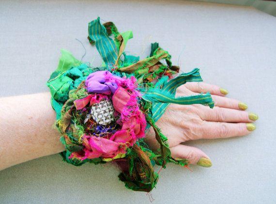 sale-recycled silk bohemian flower cuff by handmadestreet101