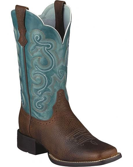 "*Like* Ariat Quickdraw Blue Fancy Stitched Cowgirl Boots - Square Toe. $169.95 via Sheplers.com. Larger sizes available, though no ""wides"" via Sheplers."