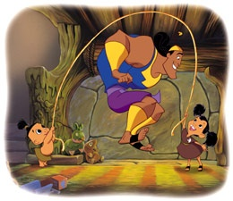 "Hurry Kronk we must move."" ""hold on we got 99 more monkeys to go"" ""oh fine"""
