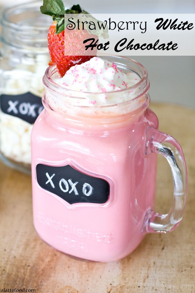 Strawberry White Hot Chocolate   Made with real strawberry puree!