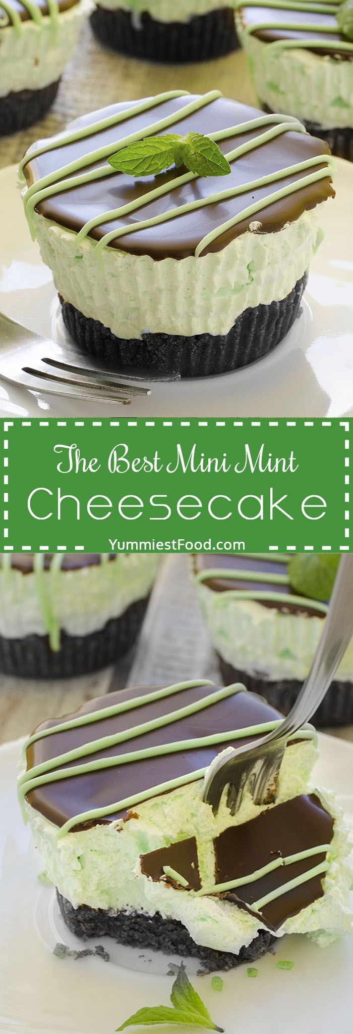 The Best Mini Mint Cheesecake – so easy to make, creamy and cute! Absolutely delicious, The Best Mini Mint Cheesecake with an Oreo crust and only a few ingredients!