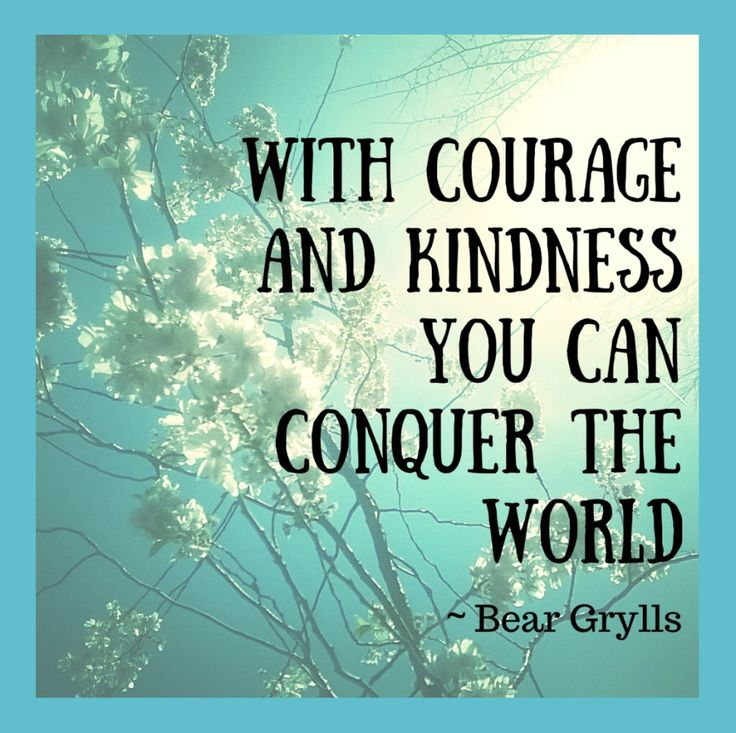 With kindness and courage you can conquer the world. Bear Grylls quote used in my blog post about online bullying and kindness