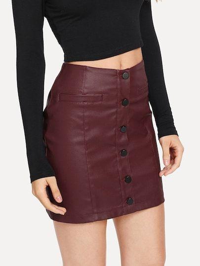 63179a737 Jupe en jean avec rangée de boutons-French SheIn(Sheinside)   jupe ...