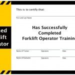 Forklift certificate for completed forklift training -- forklift certification -- http://www.forklifttrainingwhiz.com