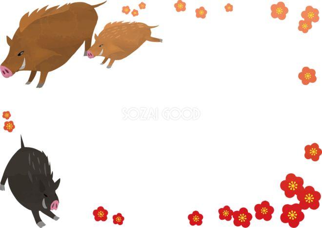 かわいい梅とイノシシの亥年の年賀状フレーム枠イラスト無料フリー84783 素材good 年賀状 フレーム 枠 イラスト 無料 イラスト