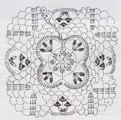 grille napperon et ses 4 fleurs assemblées