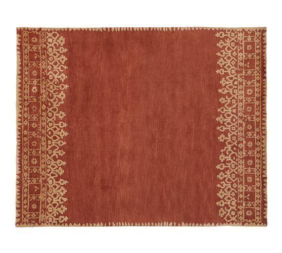 Desa Bordered Wool Rug Terra Cotta Pottery Barn 9x12 For Living Room Or Dining Room