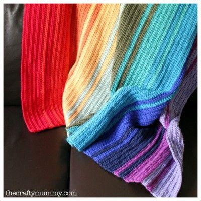 rainbow crochet blanket tutorial