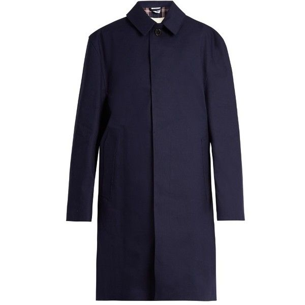 Vetements X Mackintosh open-back raincoat (€1.545) ❤ liked on Polyvore featuring outerwear, coats, blue raincoat, navy blue raincoat, mac coat, oversized coat and water resistant coat
