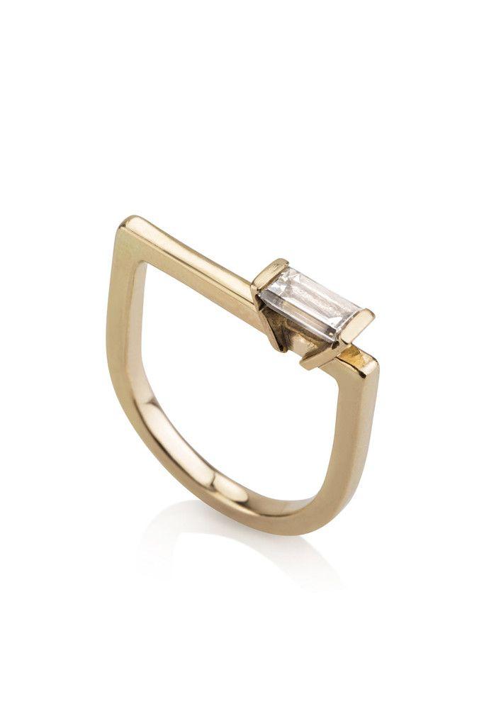 Perla Ring / Geometric diamond Ring Solid 14 karat gold and 0.5 ct baguette diamond By CONTOUR....x
