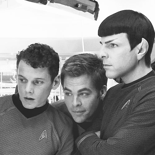 Chris Pine, Anton Yelchin, and Zachary Quinto are perfect! I love these three men!<3 Can't wait for the second Star Trek XI movie!! RIP Anton❤️