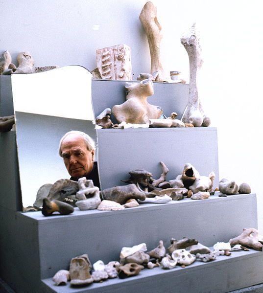 Henry Moore (English sculptor & artist) in his studio, photo by Allan Warren