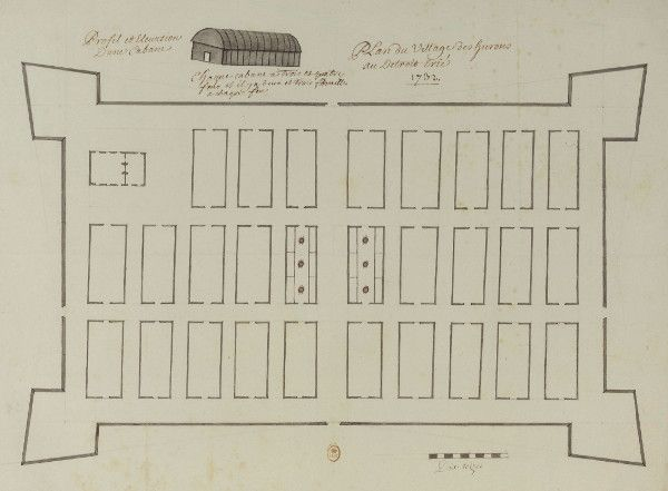 The first Wyandot village, drawn by Commandant Henri-Louis Deschamps de Boishébert, 1732. The Joe Louis Arena parking garage stands here today. Image courtesy National Library of France.