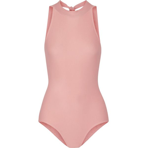 Ballet Beautiful Stretch-jersey halterneck leotard ($63) ❤ liked on Polyvore featuring bodysuits, tops, swimwear, dance, pink, ballet beautiful and stretch jersey