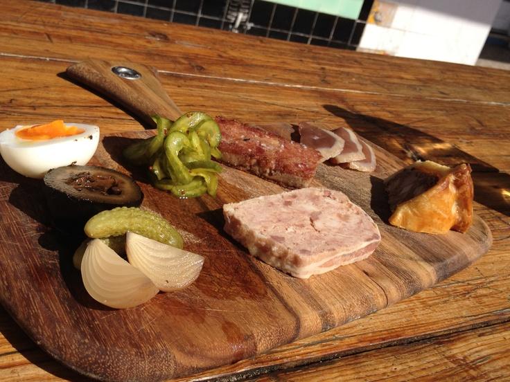 THE BEST ploughman's lunch at Duchess of Spotswood  pork terrine, duck ham, ham hock rillette, biersteiger salami, pickles and sourdough