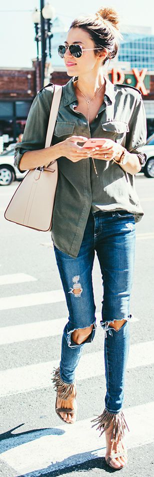 love this army green button down and these distressed jeans