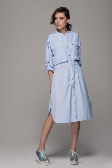 Shirt dress with drawstring waist - FrontRowShop