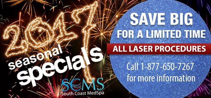 Call 1-877-650-7267 to find out more about our New Year specials!  Laser Vein Removal - Laser Acne Treatment - Laser Tattoo Removal - Laser Hair Removal - Laser Acne Scar Removal - Laser Skin Rejuvenation - Forever Young BBL
