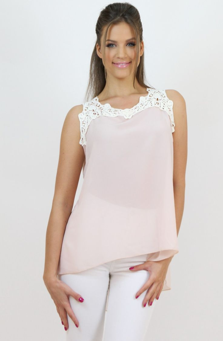 Pink Chiffon and Lace Top- www.famevogue.ro - add a feminine touch to your casual looks.  #tops #style #trends #fashion #casual #moda