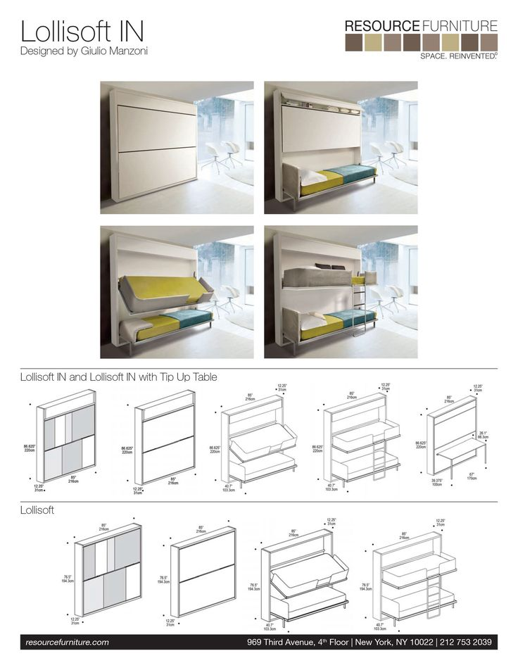 The Lollisoft IN is a twin size bunk bed with upper soft barrier and additional storage. This wall bed is available with an optional fold down desk.