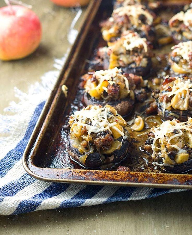 Apple Sausage Stuffed Baby Bella Mushrooms via @feedfeed on https://thefeedfeed.com/gluten-free-entertaining/boundbyfood/apple-sausage-stuffed-baby-bella-mushrooms